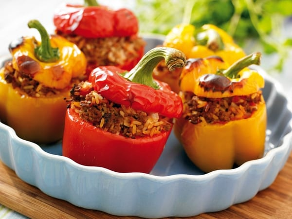 Stuffed peppers with bulgur and pumpkin